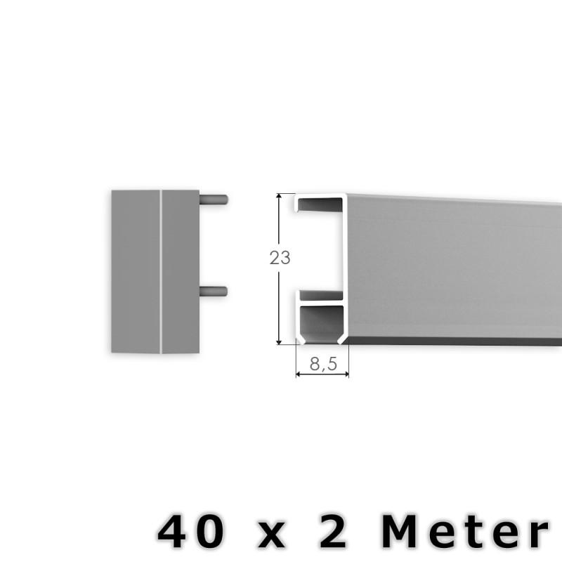 80 meter bilderschienen set klassik bilderschiene in silber. Black Bedroom Furniture Sets. Home Design Ideas