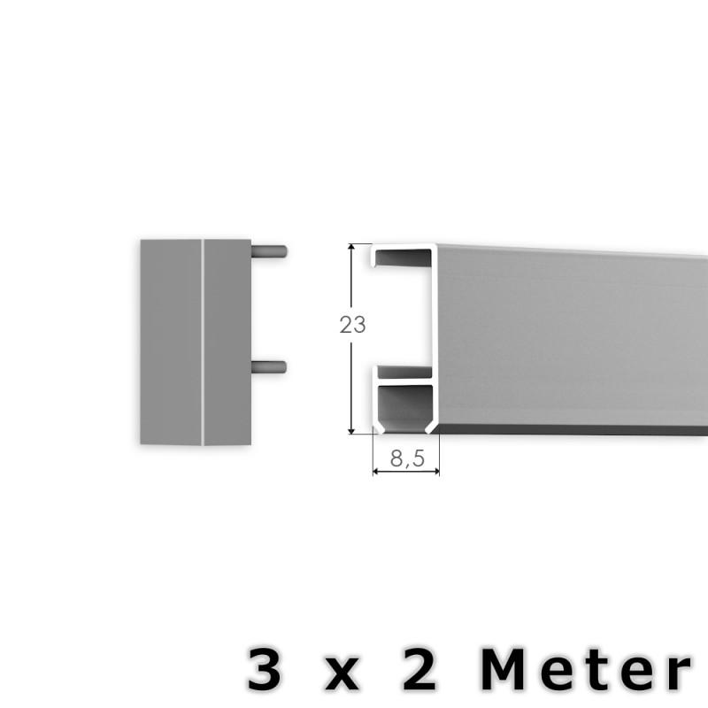 6 meter bilderschienen set klassik bilderschiene in silber. Black Bedroom Furniture Sets. Home Design Ideas
