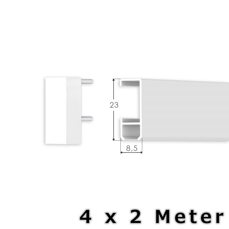 8 meter bilderschienen set klassik bilderschiene in wei. Black Bedroom Furniture Sets. Home Design Ideas